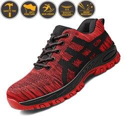 Zapatos de seguridad de punta de acero de alta calidad para hombres zapatos de seguridad para el trabajo zapatos de trabajo de malla de aire transpirables Unisex de talla grande 37-46 Goma