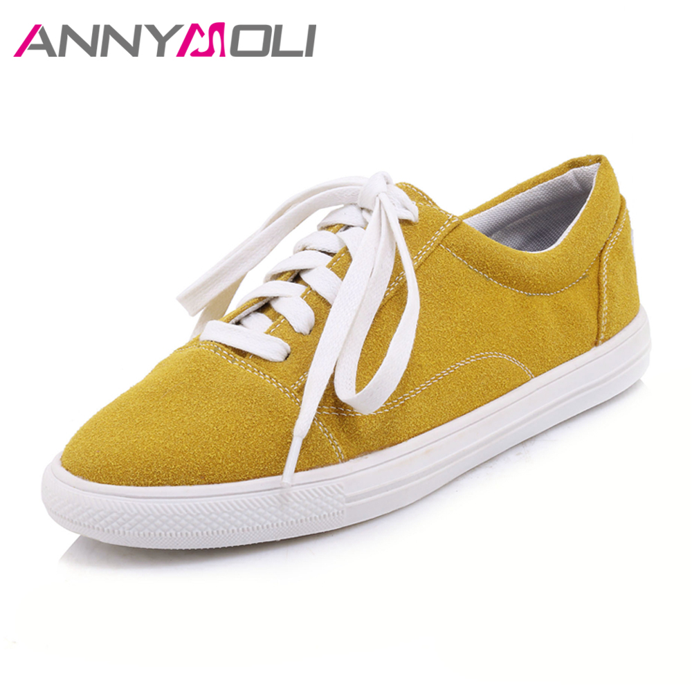 ANNYMOLI Flats Shoes Women Round Toe Flat Lace Up Shoes Big Size 33-46 Soft Concise Casual Student Shoes Flats Autumn Yellow concise lofers for women spring women flats elastic band round toe flats size 34 43 flat sole platform shoes 2016 women shoes