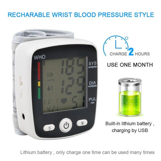 Casa recarregável Display LCD De Pulso de Pressão Arterial Digital Automático Monitor de Pressão Arterial Heart Beat Taxa de Medidor De Pulso Me