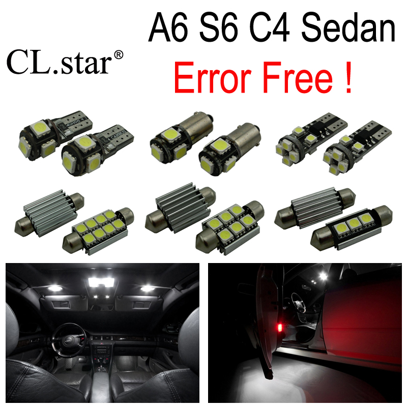 17pc X error free LED bulb interior dome light kit package for Audi A6 S6 C4 Sedan (1994-1997) 15pc x 100% canbus led lamp interior map dome reading light kit package for audi a4 s4 b8 saloon sedan only 2009 2015