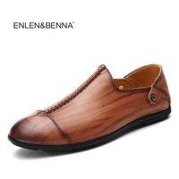 Enlenbenna Autumn Men Leather Loafers Slip On Casual Shoes For Mens Moccasins Brand Italian Designer Shoes