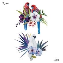 цена на Wyuen New Design Parrot Fake Tattoo Original Flower Waterproof Temporary Arm Tatoo Stickers Body Art Bird Tattoos A-040