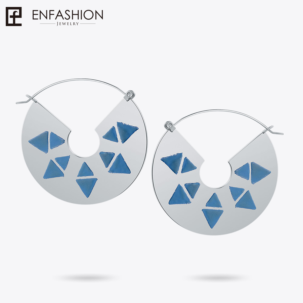 Enfashion Lacquer Art Series Blue Triangle Drop Earrings Classic Geometric Earrings For Female Earrings oorbellen EBQ18LA24 triangle round drop earrings