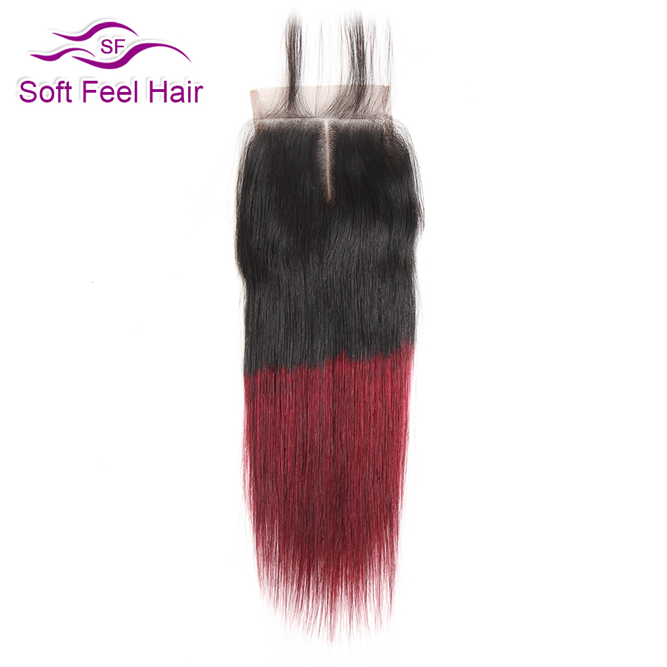 Soft Feel Hair Ombre Brazilian Straight Closure 1B/Burgundy 4x4 Human Hair Closure 99J Red Remy Hair Lace Closure 10-20 Inch