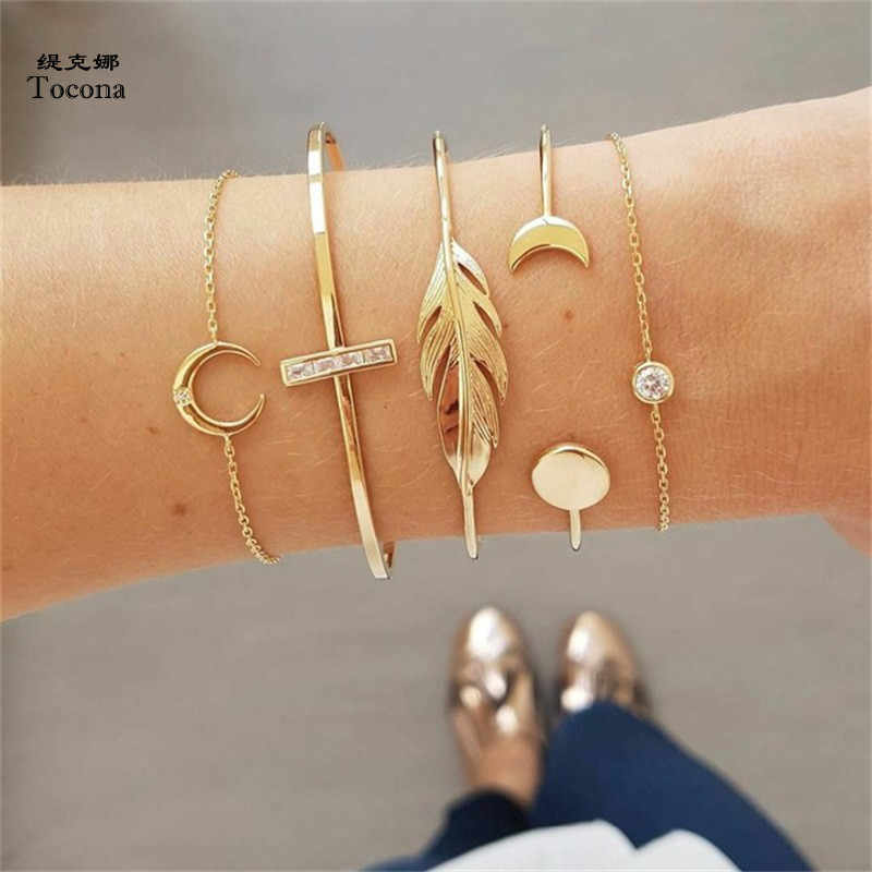 Tocona 5 Pcs/set Fashion Punk Gold Chain Moon Leaf Crystal Geometry Open Bracelet Set Women Charm Beach Accessories Jewelry 6840