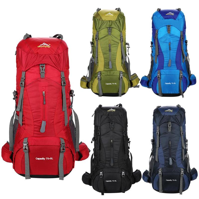 купить 75L Nylon Camping Hiking Backpack Waterproof Sports Bag Outdoor Travel Trekking Rucksack Mountain Climb Equipment Men Women по цене 2182.72 рублей