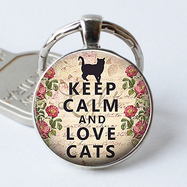 Keep Calm and Love Cats Funny Quote Car Keychain Key Rings