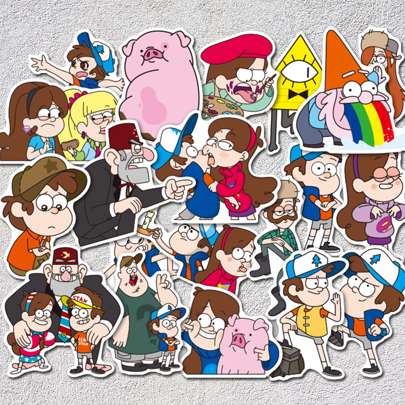 все цены на AQK 39Pcs/Lot Funny Anime Gravity Falls Stickers PVC Graffiti Sticker For Kid Toy Skateboard Luggage Laptop Car Home Decor Decal