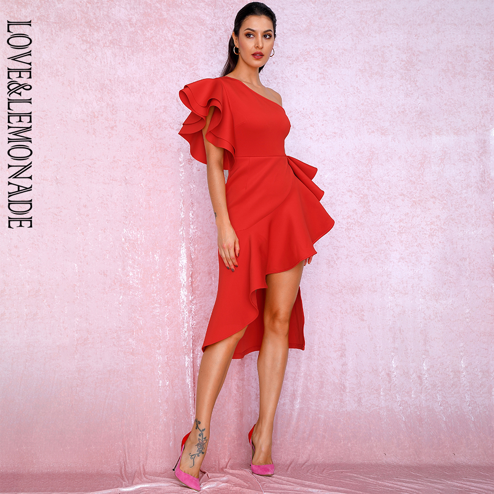 LOVE LEMONADE Sexy One Shoulder Ruffle Trim Sleeveless Elastic Material Party Dress LM90058 RED