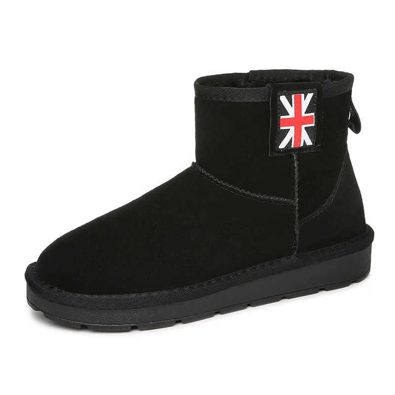 Guciheaven2018 Keep Warm Plush ภายในหิมะรองเท้าผู้หญิงข้อเท้ารองเท้า UK แบนสั้น Cow หนังนิ่มหนังรองเท้าธงฤดูหนาวร้อน