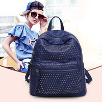 The New Water Washed Leather Rivet Backpack Fashion Joker Female Leisure Packages Women Messenger Bags DDWB100