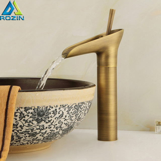 Antique Brass Waterfall Basin Faucet Single Lever Countertop Bathroom Vessel  Sink Mixer Tap One Hole