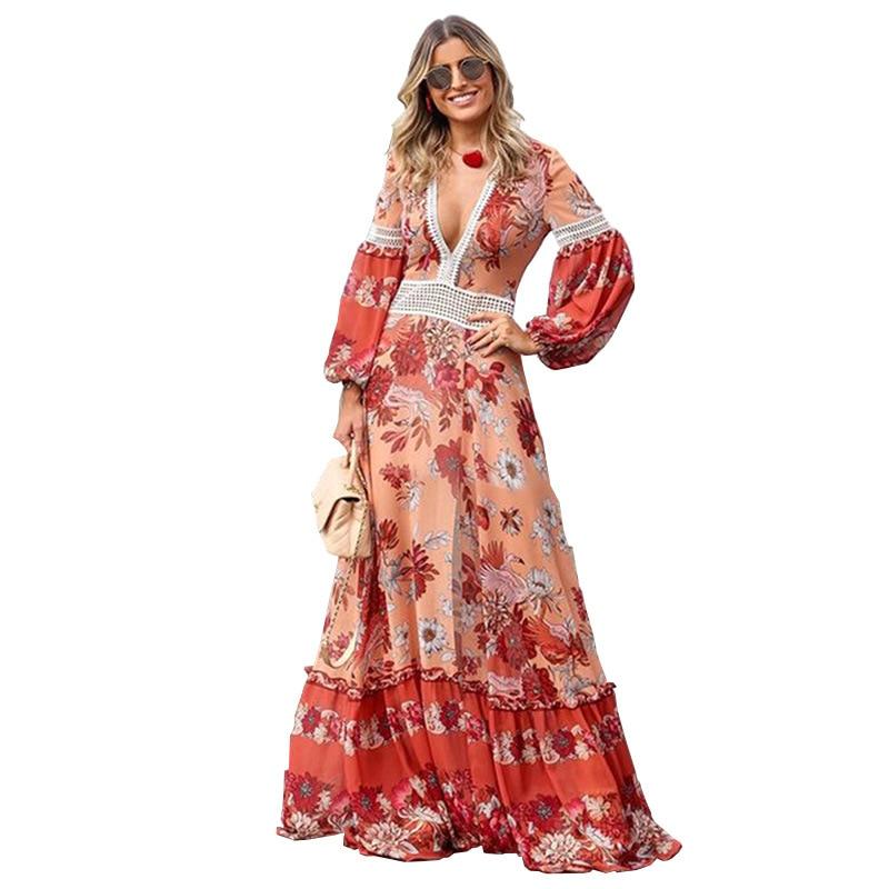 Bellflower Sexy Boho Dress Women 2019 Spring Long Lantern Sleeve High Wasit Long Dress Vintage Print Elegant Dresses Vestidos in Dresses from Women 39 s Clothing
