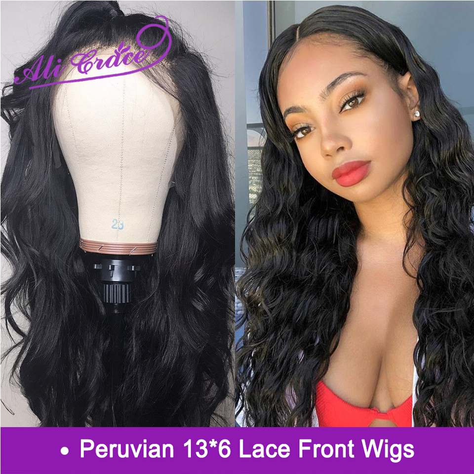 Ali Grace Peruvian Body Wave 13 6 Lace Front Human Hair Wigs 150 Density Pre Plucked