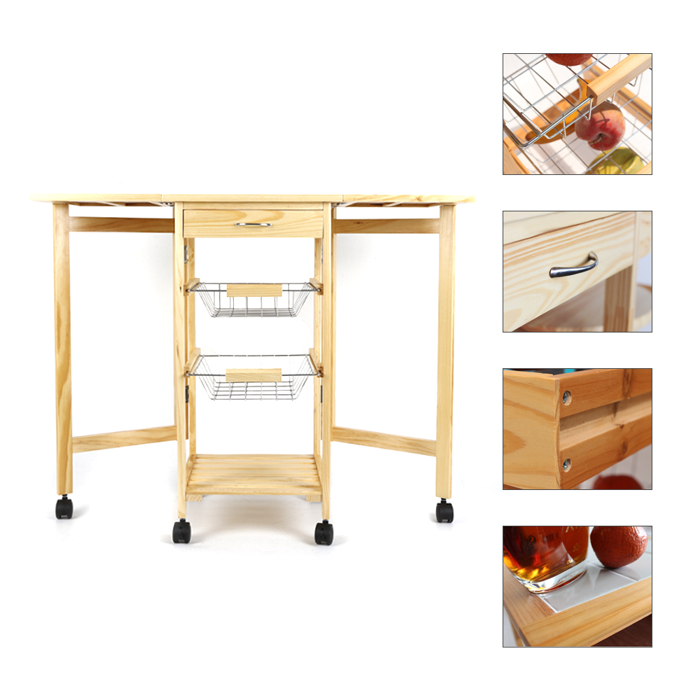 Portable Folding Kitchen Rolling Tile Top Drop Leaf Storage Trolley Cart Simple Fashion Kitchen Island Trolley