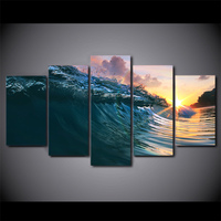5 Pcs Canvas HD Printed Sunset Blue Wave Poster Framed Wall Art Picture Paintings For Living Room Adornos Para Casa
