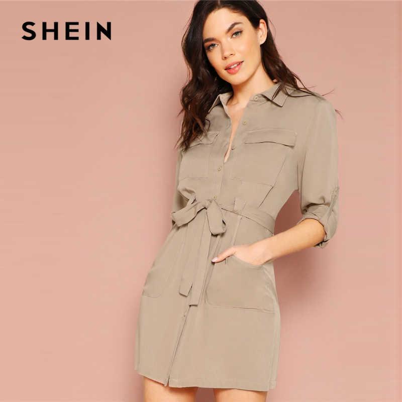 6a7fcbb5b3 SHEIN Khaki Pastel Pocket Front Rolled Tab Sleeve Shirt Dress Women Casual Long  Sleeve 2019 Summer