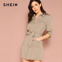 30a00ae34a5 SHEIN Khaki Pastel Pocket Front Rolled Tab Shirt Dress Women Casual Long  Sleeve 2019