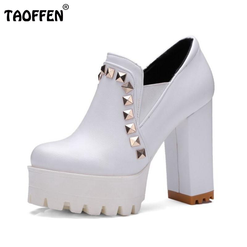 Size 33-43 Female High Heels Shoes Women Round Toe Platform Rivets Thick High Heeled Pumps Office Ladies Sexy Heels Footwears