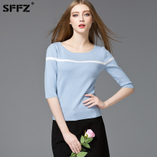 SFFZ Fashion Sweater Pullover Womens Sweaters Shirt O-Neck Half Sleeve Casual Elasticity Knitted Sky Blue Spring Summer Tops
