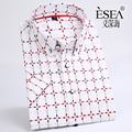summer  New Mens 100% cotton  Casual print  Shirts short sleeved Slim  Comfort  Cotton Shirt Leisure Styles Man Clothes