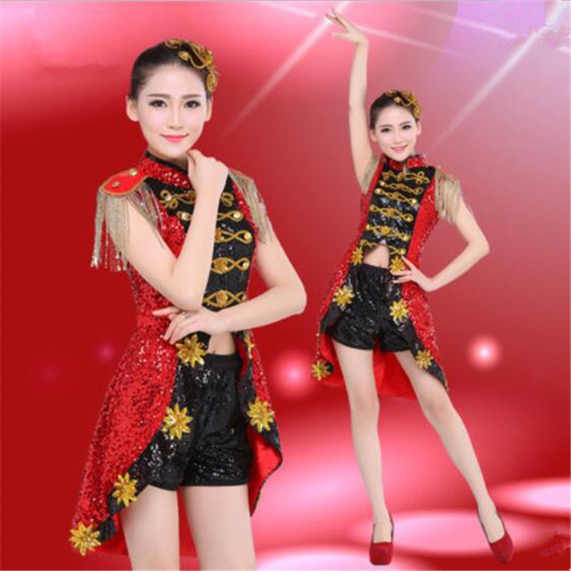 c2129c5f Female costume sequins red dress sexy Modern dance Bar DJ DS stage Show  girl Dress for ...