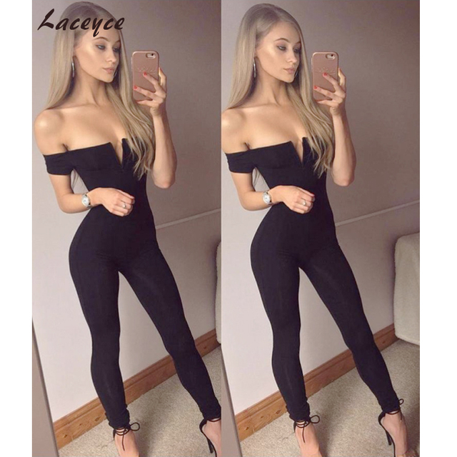 8515d46211d Laceyce 2018 Fashion Summer Women Long Jumpsuit Black Off The Shoulder  Celebrity Party Rompers Sexy Backless Skinny Bodysuit