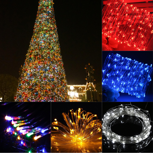 5m 33ft string lights 100 led usb powered christmas lights outdoor copper wire 5 colors wedding