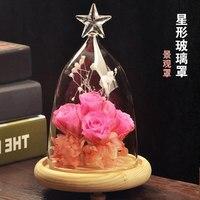 O. RoseLif כוכבים זכוכית כיסוי אירופאי נוף יפה אגרטל קטן אגרטל יצירתי לשולחן עבודה בבית (לא כולל פרחים)