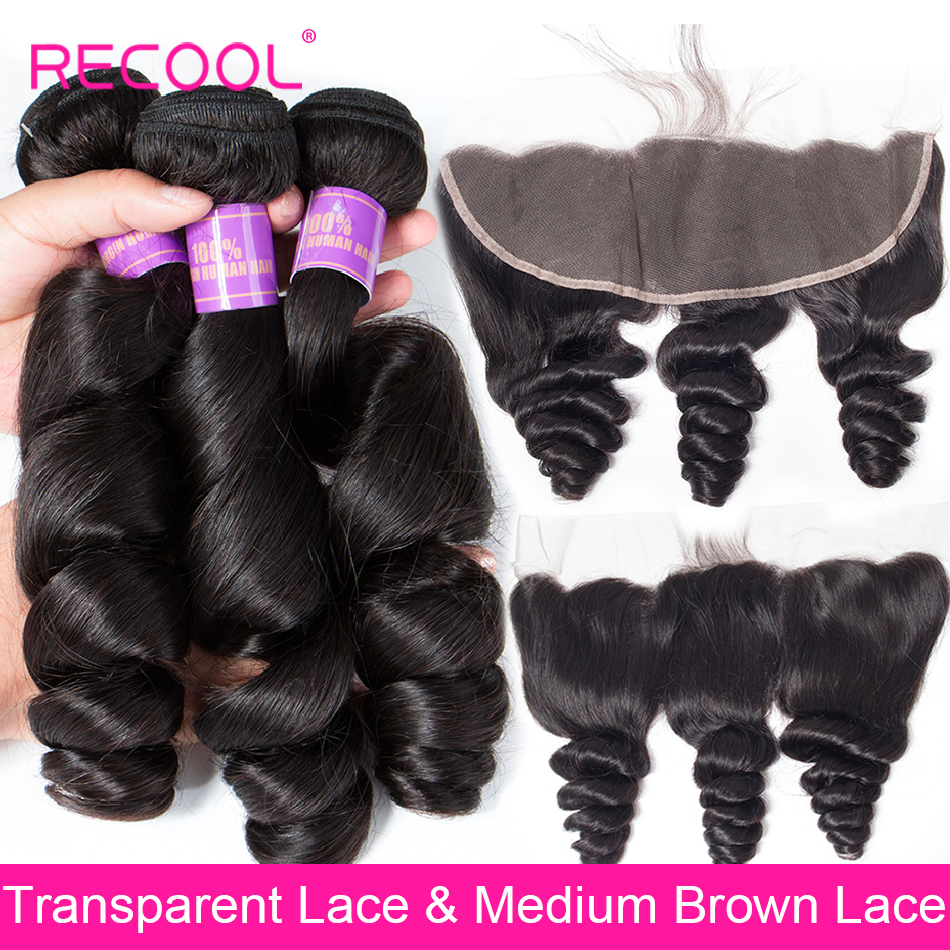 Recool Loose Wave Bundles With Frontal Closure Brazilian Human Hair Bundles With HD Transparent Swiss Lace