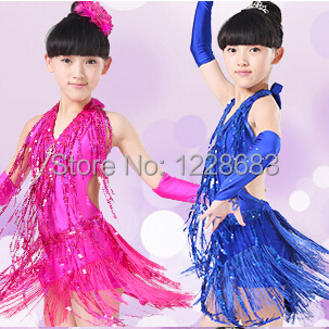 Newest Sequin Tassels Fringe Latin Dance Dress For Girls Cha Cha/Samba/Rumba/Salsa/Tango Dress For Ballroom Dancing