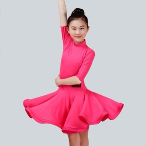 Image 5 - 2020 menina vestido de dança latina 5 cores vermelho/verde/azul criança/criança criança fitness crianças samba chacha rumba menina mostrando saias de dança 2034