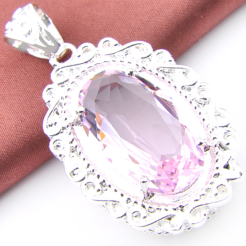 Luckyshine Big Promotion Superb Oval Pink Crystal Gem Silver Plated Wedding Pendants Russia USA Australia Pendants for Necklaces