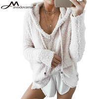 Avodovama M Women New Fashion Blouses Long Sleeve Hooded Loose Casual Solid Tops