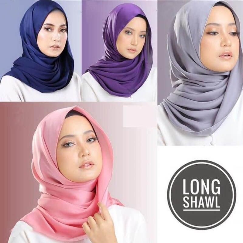 Summer Malaysian plain color headband faux silk   scarf     Wrap   satin long shawl for muslim women islamic headscarf headwear 180x70cm