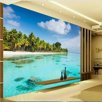 Custom Large Fresco HD Beach Sea Coconut Beach TV Wall Wallpaper Non Woven Wallpaper Papel De