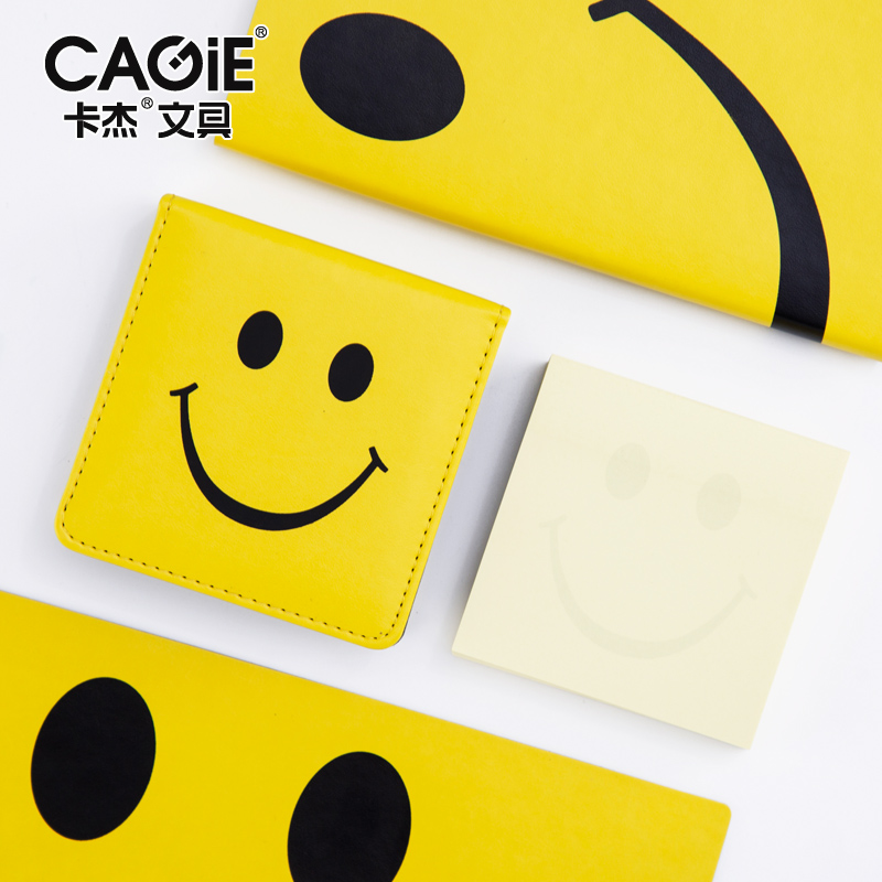 2017 New Arrival Cagie Cute Smile Office Supplies Sticky Notes Memo Pad Pu Leather Kawaii Stationery Self-adhesive Stickers For 5pcs e27 led bulb 2w 4w 6w vintage cold white warm white edison lamp g45 led filament decorative bulb ac 220v 240v
