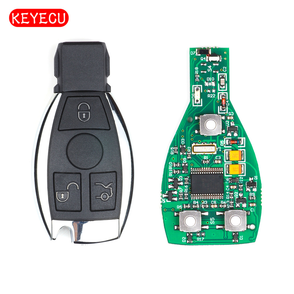 Keyecu 5pcs/lot Remote Smart Remote Key Fob 3 Button 315MHz/433MHz NEC Chip for Mercedes-Benz BGA After 2000 Years new updating smart key for benz 3 button 433mhz 315mhz easy to create a new key for mecerdes good quality