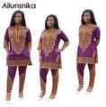 Ailunsnika  2017 African Vintage National Print Dashiki 2 pcs Suits Summer Women playsuits Casual Loose O-Neck Pants Sets OS5109