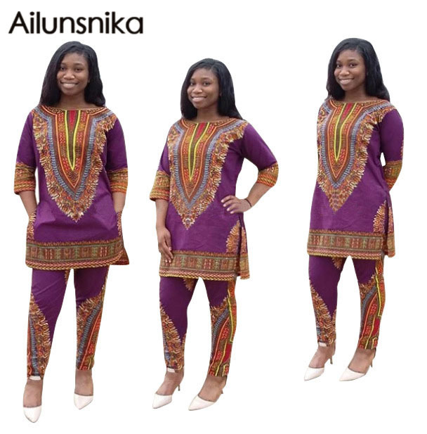 Ailunsnika 2017 Africano Dashiki 2 pcs Ternos de Impressão Nacional Do Vintage Verão Mulheres playsuits Calças Conjuntos Casuais Solta O-pescoço OS5109