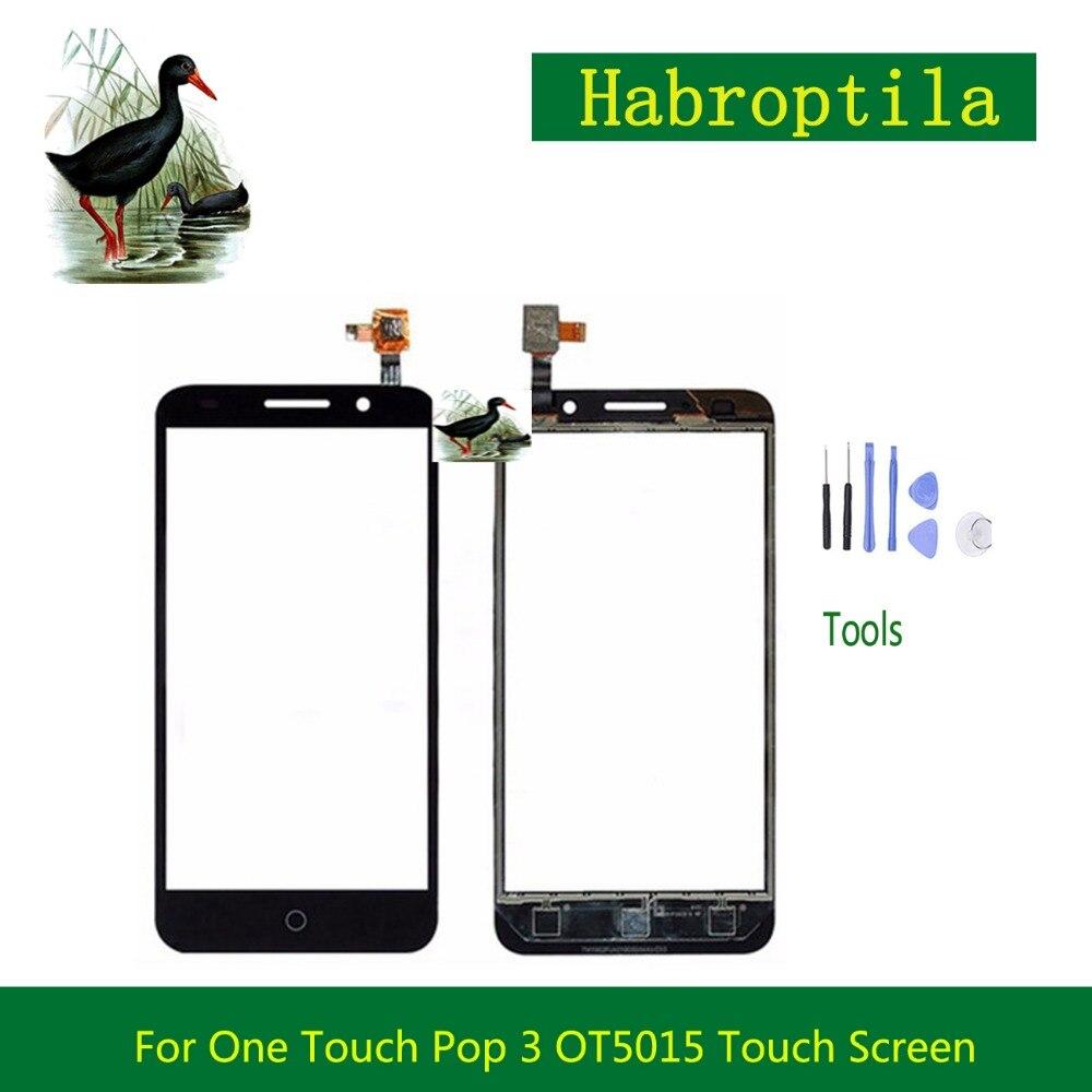 Haute Qualité 5.0 pour Alcatel One Touch Pop 3 OT5015 5015 5015A 5015D 5015E Tactile Panneau Écran Digitizer Capteur Externe Lentille En Verre