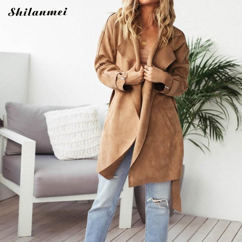 2018 New Spring Autumn Women Trench Coat Fashion Soft   Suede   Faux   Leather   Jackets Lady Long All-Match Trench Coat Causal Outwear