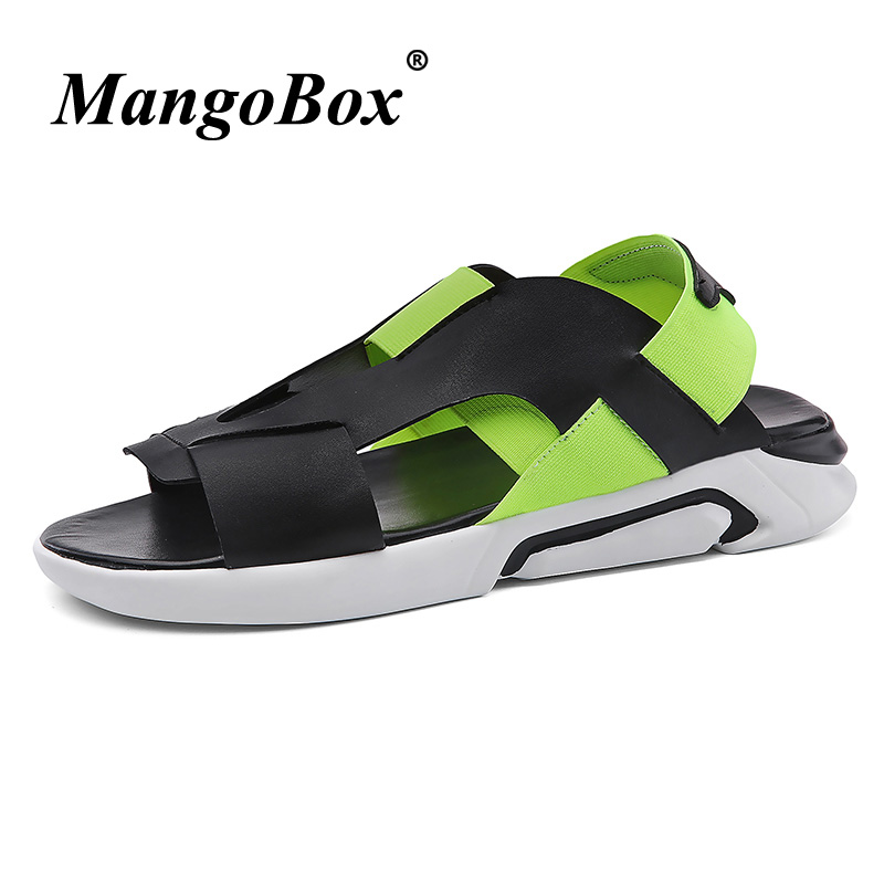 Luxury Brand Men Summer Shoes Breathable Black Green Flat Sandals For Men Slip On Men Shoes Beach Mens Slippers Outdoor Fashion