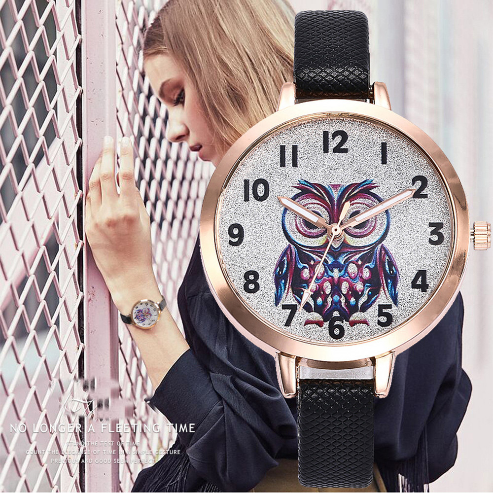 Brand 2019 New Arrived Leather Fashion Women's Dress Watches Ladies Casual Wristwatches Simple Owl Quartz Watch Clock A4