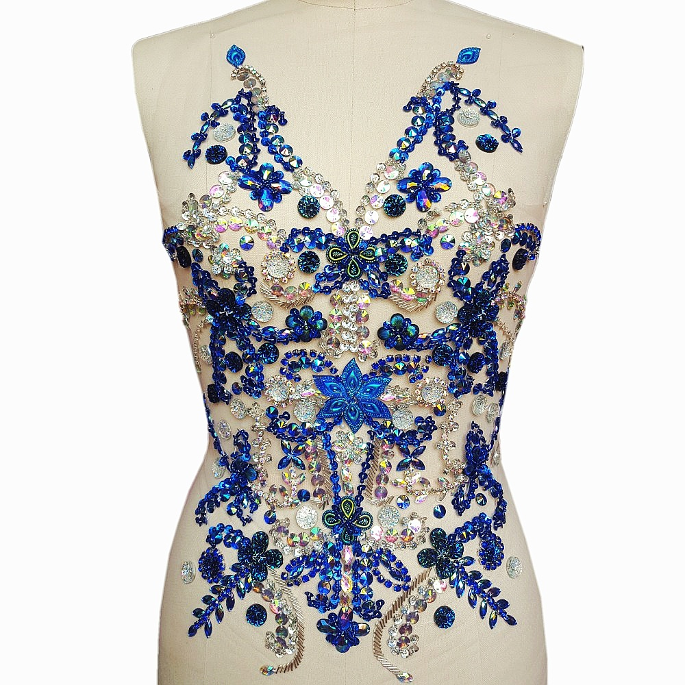 Handmade Beaded Crystal Blue AB Sew on Rhinestones Sequins Beads Applique Patches Sewing for DIY Wedding
