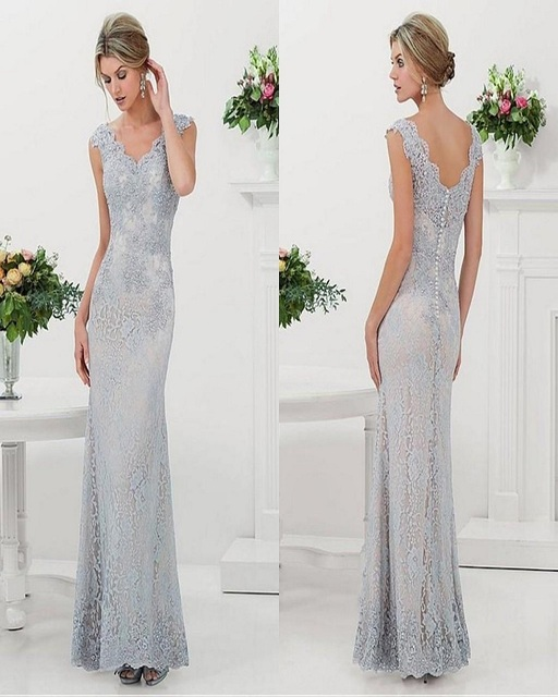 7618f16a5b Silver 2016 Mother Of The Bride Dresses Mermaid Cap Sleeves Lace Appliques Long  Evening Dresses Mother Dresses For Wedding