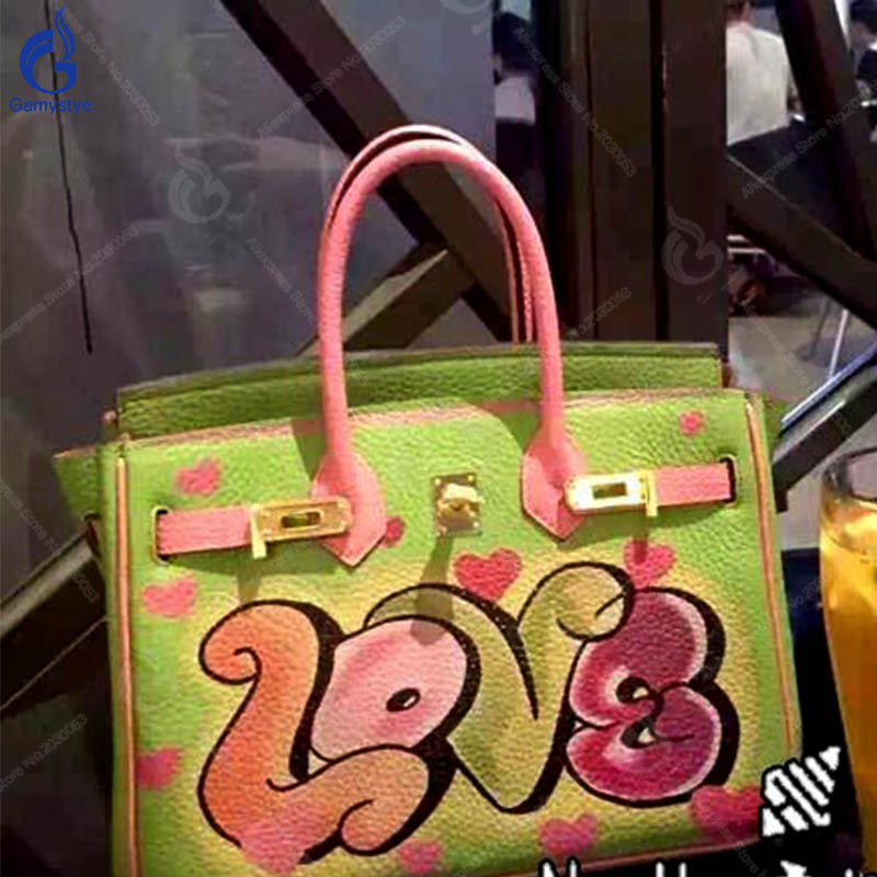 a71225aad9509 Mode Y Leder Green griff Taschen Totes Frauen Schulter Graffiti Handtaschen  Top Bolsas Tasche 2018 Messenger Diy Neue ...