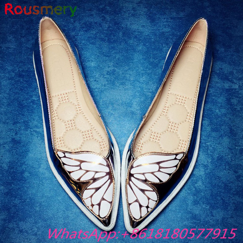 ФОТО Fashion Butterfly  Woman Pumps Spring Autumn Plus Size Casual Pointed Toe Slip-On Woman Shoes Attractive Zapatos Mujer