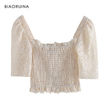 BIAORUINA Women Fashion Slash Neck Lace Patchwork All-match Short T-shirt Female Sexy Beige Solid Crop Tops Summer New Arrival(China)
