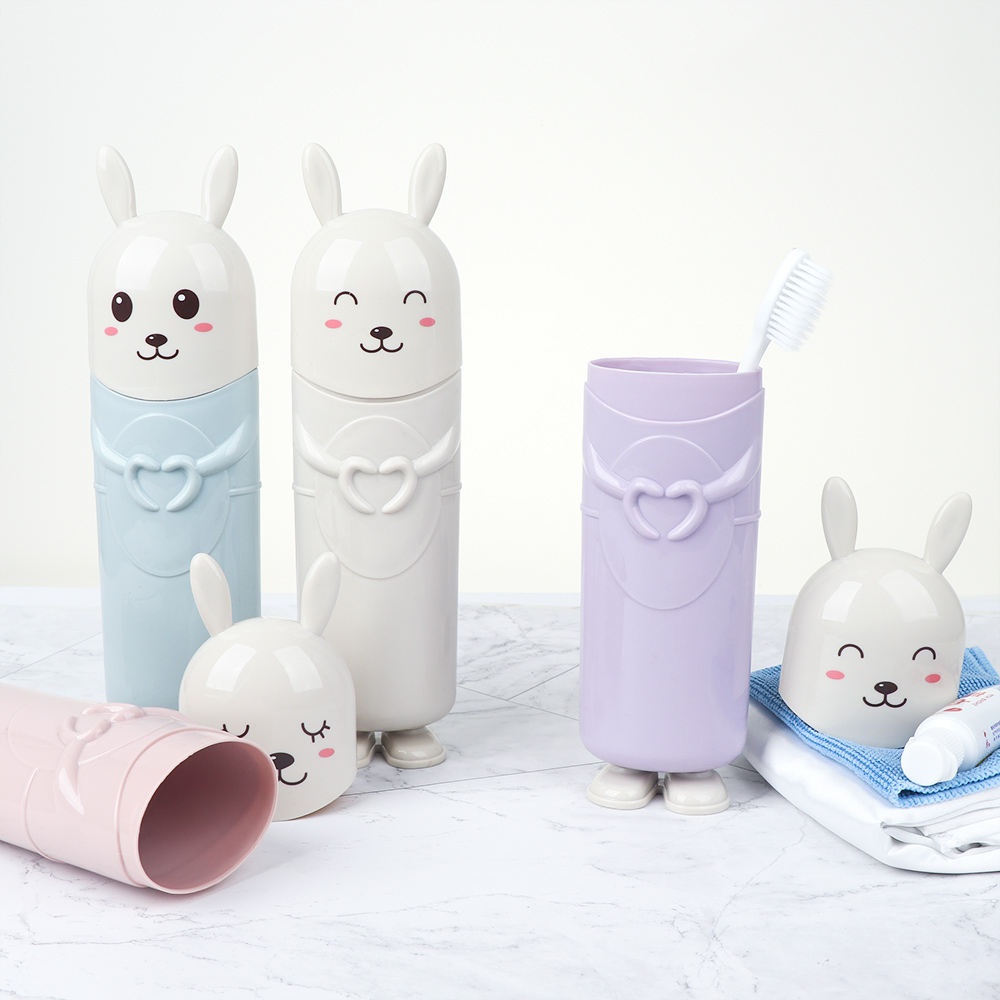 Creative Plastic Water Bottle Toothbrush Holder Cute Animal Toothpaste Storage Cup Travel Necessary image